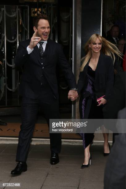 Chris Pratt and Anna Faris seen leaving Claridges Hotel to attend the Guardians of the Galaxy Vol 2 screening on April 24 2017 in London England