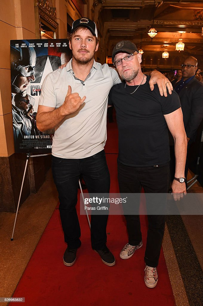 Chris Pratt and Michael Rooker attend 'Captain America Civil War' Atlanta Cast filmmakers screening at The Fox Theatre on May 1 2016 in Atlanta...