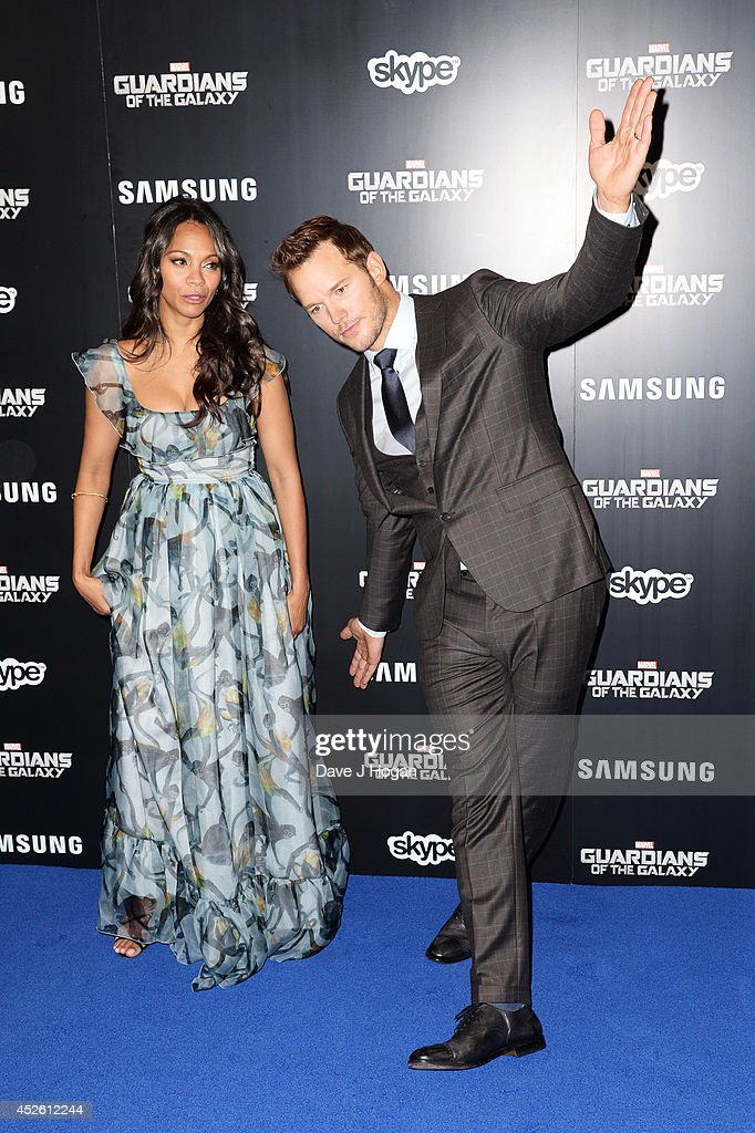 Chris Pratt and <a gi-track='captionPersonalityLinkClicked' href=/galleries/search?phrase=Zoe+Saldana&family=editorial&specificpeople=542691 ng-click='$event.stopPropagation()'>Zoe Saldana</a> attend the European premiere of 'Guardians Of The Galaxy' at The Empire Leicester Square on July 24, 2014 in London, England.