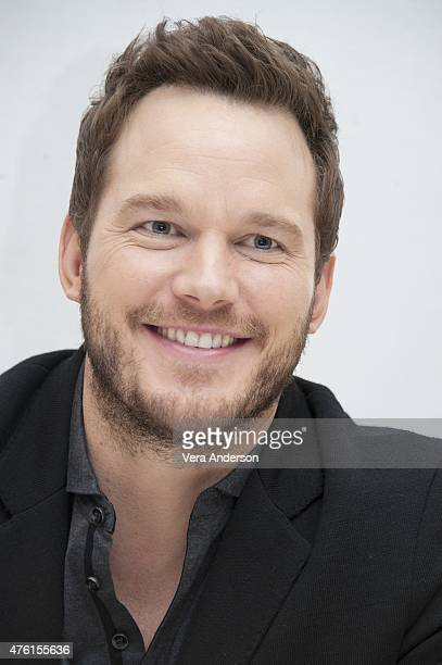 Chris Pratt at the 'Jurassic World' Press Conference at Universal Studios Backlot on June 6 2015 in Universal City California