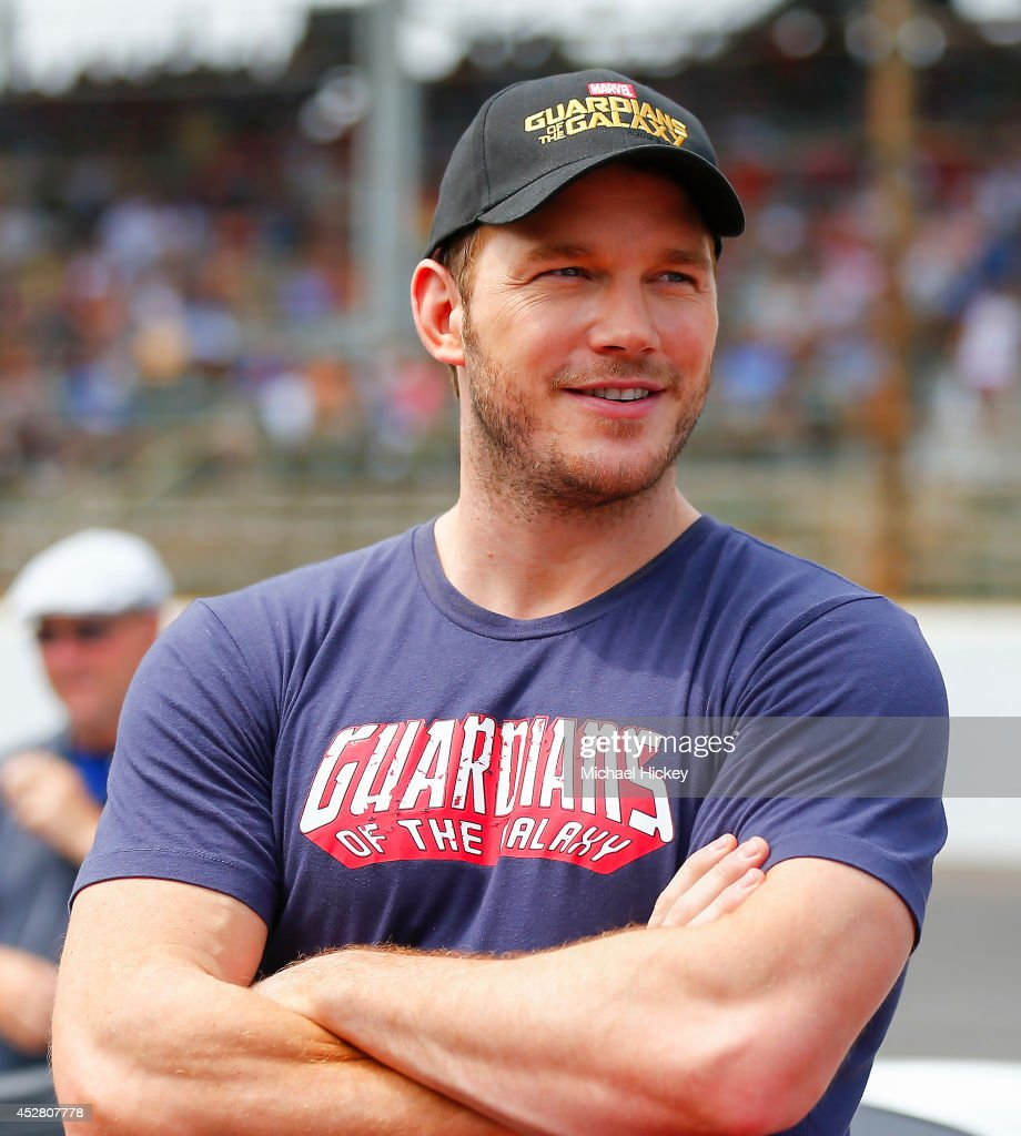 Chris Pratt attends the 2014 Brickyard 400 at Indianapolis Motor Speedway on July 27 2014 in Indianapolis Indiana