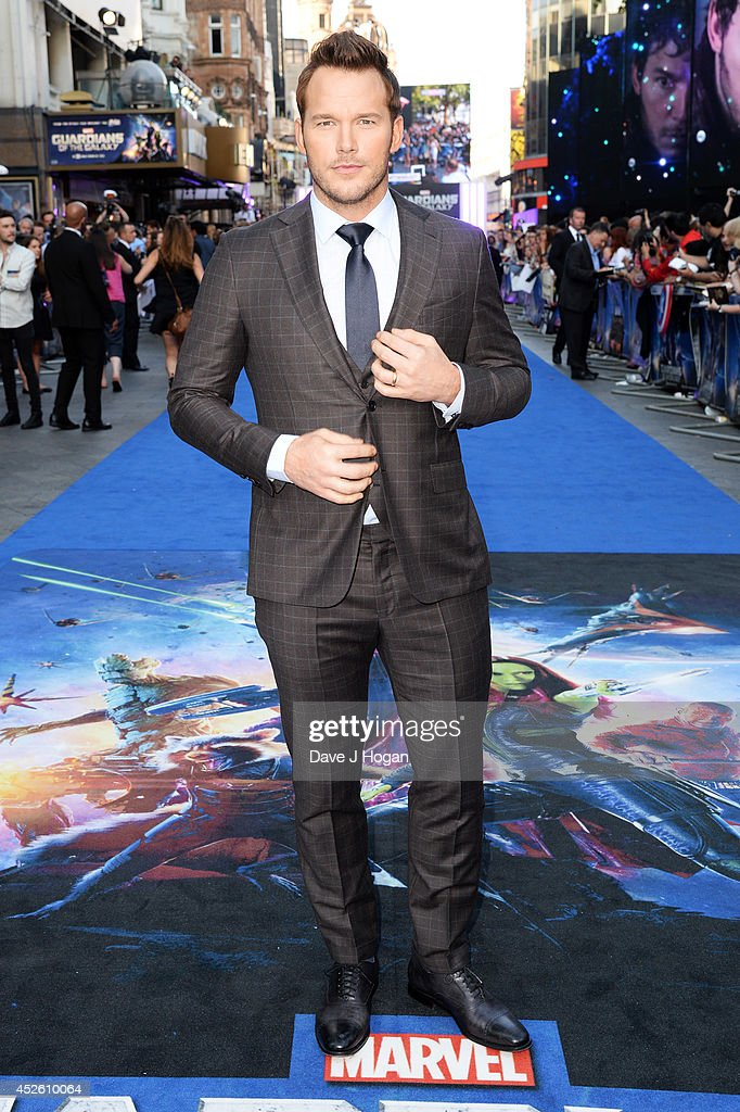<a gi-track='captionPersonalityLinkClicked' href=/galleries/search?phrase=Chris+Pratt+-+Actor&family=editorial&specificpeople=239084 ng-click='$event.stopPropagation()'>Chris Pratt</a> attends the European premiere of 'Guardians Of The Galaxy' at The Empire Leicester Square on July 24, 2014 in London, England.