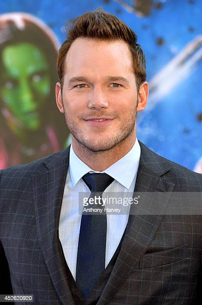 Chris Pratt attends the UK Premiere of 'Guardians of the Galaxy' at Empire Leicester Square on July 24 2014 in London England
