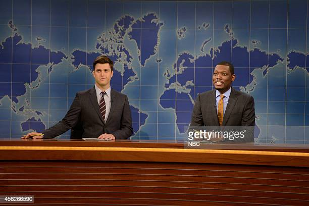 LIVE 'Chris Pratt' Episode 1663 Pictured Colin Jost and Michael Che during the 'Weekend Update' skit on September 27 2014