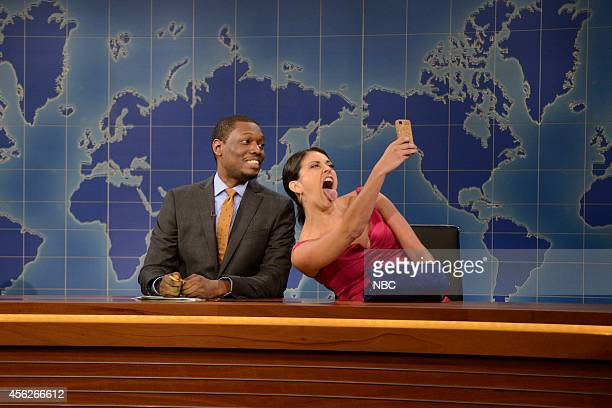 LIVE 'Chris Pratt' Episode 1663 Pictured Michael Che and Cecily Strong as the girl you wish you hadn't started a conversation with at a party during...