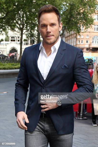 Chris Pratt seen leaving the Global Radio Studios and posing for selfies with fans on April 25 2017 in London England