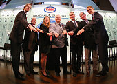 Chris Pronger Peter Karmanos Angela Ruggiero Bill Hay Nicklas Lidstrom Phil Housley and Sergei Fedorov show off their Hockey Hall of Fame rings at a...