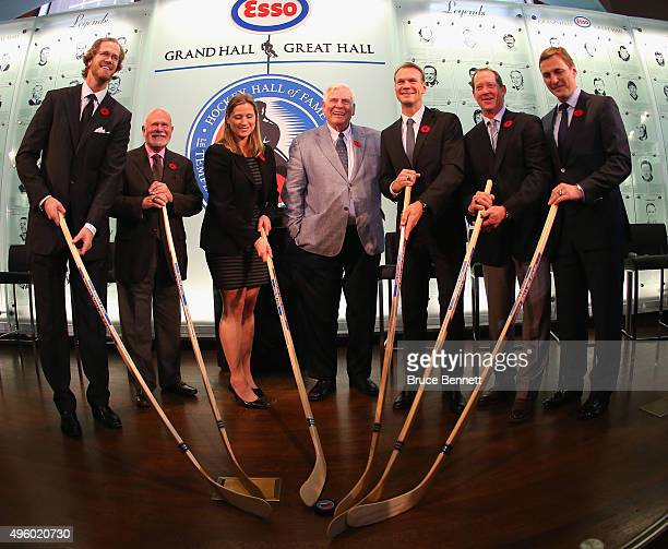 Chris Pronger Peter Karmanos Angela Ruggiero Bill Hay Nicklas Lidstrom Phil Housley and Sergei Fedorov take part in a photo op at the Hockey Hall of...