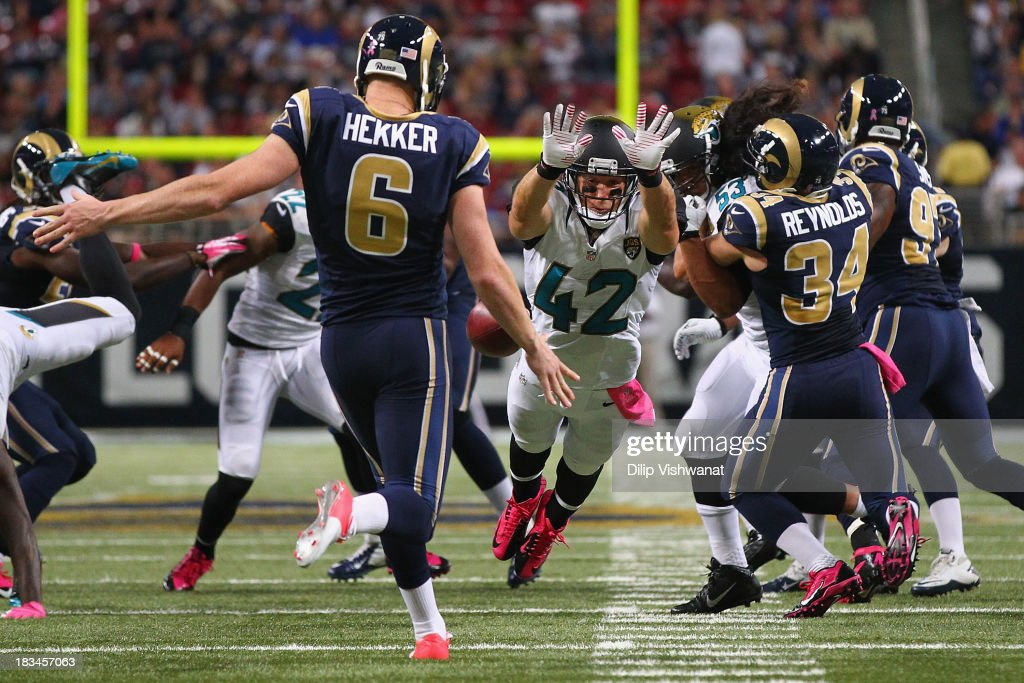 Chris Prosinski #42 of the Jacksonville Jaguars rushes the punter against the St. Louis Rams at the Edward Jones Dome on October 6, 2013 in St. Louis, Missouri. The Rams beat the Jaguars 34-20.