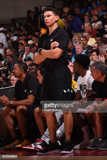 Chris Quinn of the Miami Heat coaches during the 2017 Las Vegas Summer League game against the Dallas Mavericks on July 11 2017 at Cox Pavillion in...