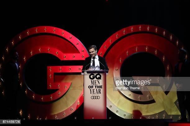 Chris Raine accepts the award for Social Force during the GQ Men Of The Year Awards Ceremony at The Star on November 15 2017 in Sydney Australia