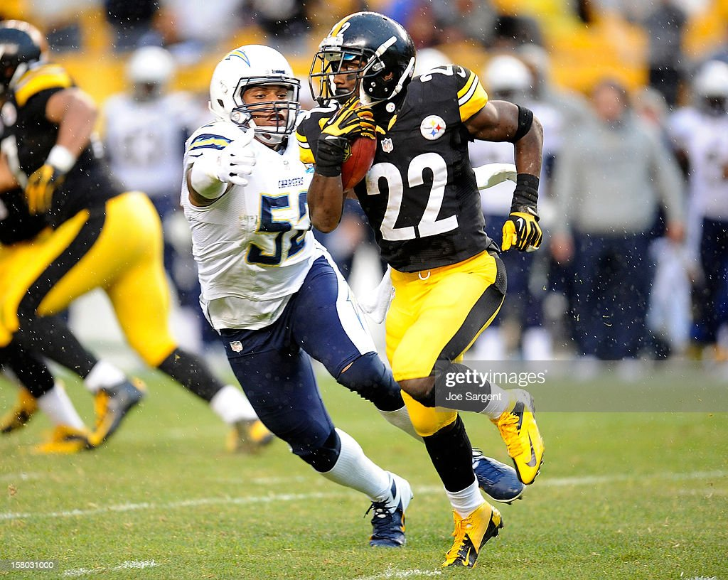 <a gi-track='captionPersonalityLinkClicked' href=/galleries/search?phrase=Chris+Rainey&family=editorial&specificpeople=4480000 ng-click='$event.stopPropagation()'>Chris Rainey</a> #22 of the Pittsburgh Steelers runs by the defense of <a gi-track='captionPersonalityLinkClicked' href=/galleries/search?phrase=Larry+English&family=editorial&specificpeople=5732552 ng-click='$event.stopPropagation()'>Larry English</a> #52 of the San Diego Chargers on December 9, 2012 at Heinz Field in Pittsburgh, Pennsylvania. San Diego won the game 34-24.