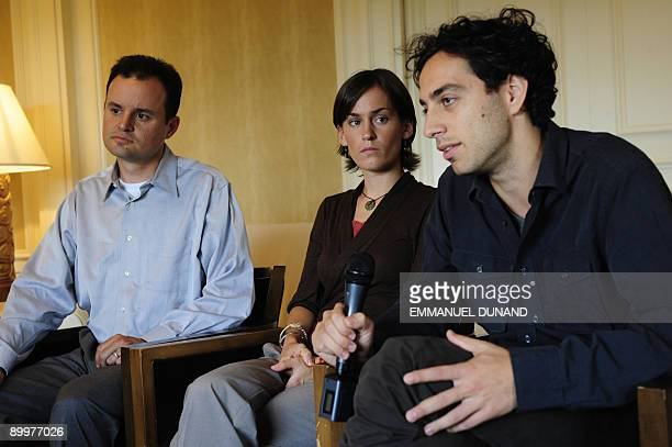 Chris Rapp Sarah Shourd's brother Shannon Bauer Shane Bauer's sister and Alex Fattal Joshua Fattal's brother give an interview in New York August 20...