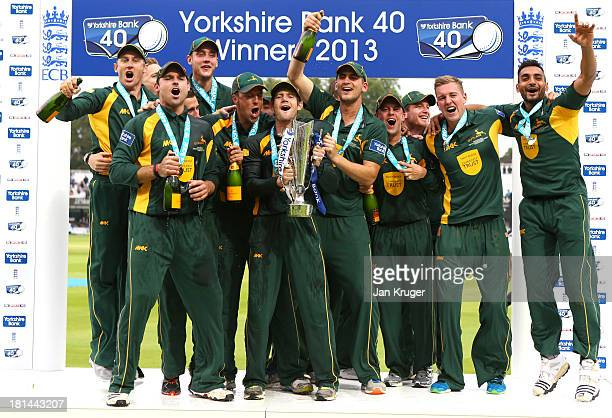 Chris Read and his Nottinghamshire team mates celebrate with the trophy after the Yorkshire Bank 40 Final match between Glamorgan and Nottinghamshire...