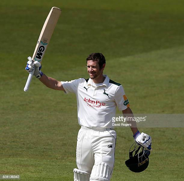 Chris Read of Nottinghamshire acknowledges the applause from the crowd after scoring a century during the Specsavers County Championship division one...