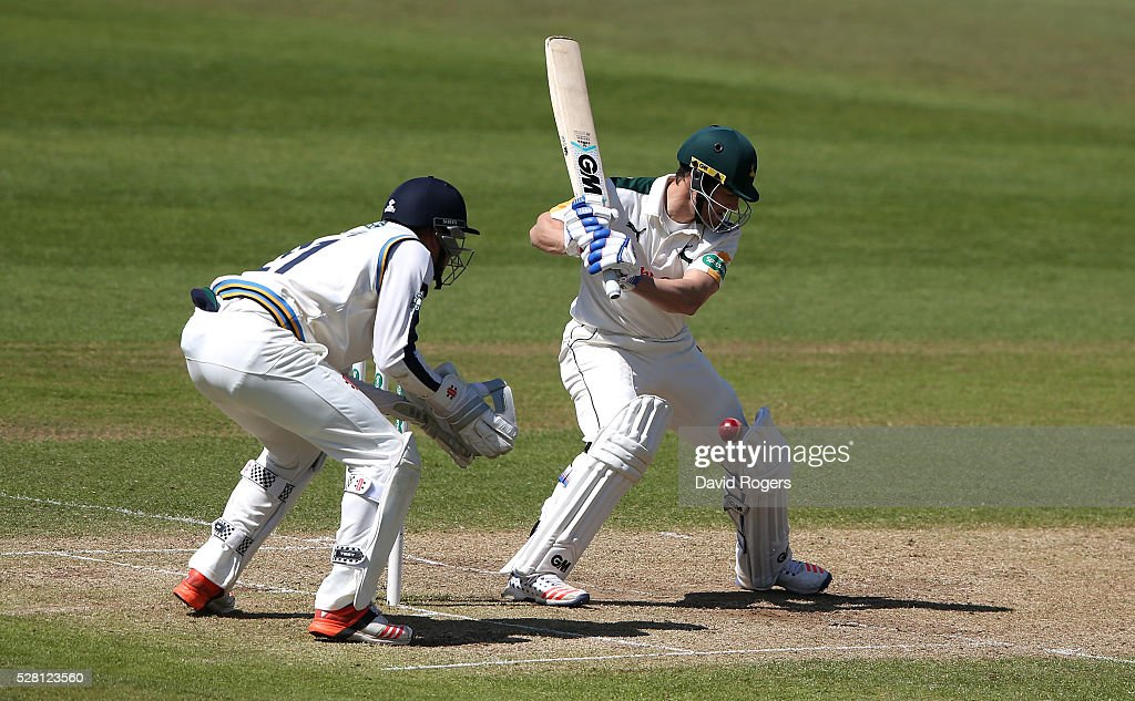 <a gi-track='captionPersonalityLinkClicked' href=/galleries/search?phrase=Chris+Read+-+Cricket+Player&family=editorial&specificpeople=211143 ng-click='$event.stopPropagation()'>Chris Read</a> of Nottinghamshire attempts to cut the ball during the Specsavers County Championship division one match between Nottinghamshire and Yorkshire at Trent Bridge on May 4, 2016 in Nottingham, England.