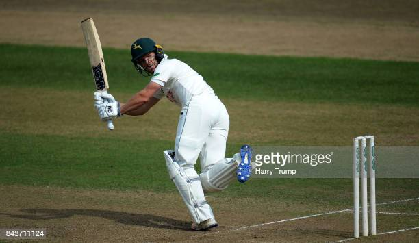 Chris Read of Nottinghamshire bats during Day Three of the Specsavers County Championship Division Two match between Nottinghamshire and...