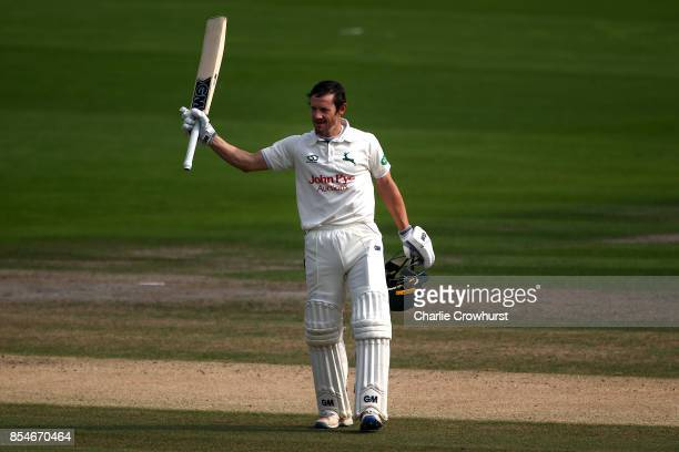Chris Read of Nottinghamshire celebrates his century during day three of the Specsavers County Championship Division Two match between Sussex and...