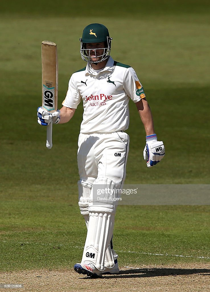 <a gi-track='captionPersonalityLinkClicked' href=/galleries/search?phrase=Chris+Read+-+Cricket+Player&family=editorial&specificpeople=211143 ng-click='$event.stopPropagation()'>Chris Read</a> of Nottinghamshire celebrates scoring a half century during the Specsavers County Championship division one match between Nottinghamshire and Yorkshire at Trent Bridge on May 4, 2016 in Nottingham, England.
