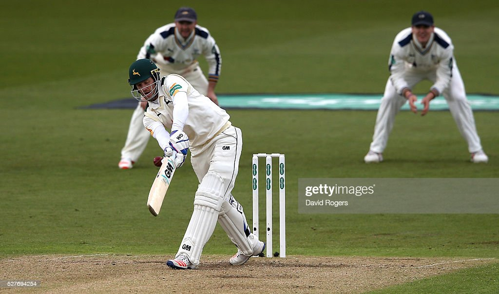 Chris Read of Nottinghamshire gets an inside edge during the Specsavers County Championship division one match between Nottinghamshire and Yorkshire at the Trent Bridge on May 3, 2016 in Nottingham, England.