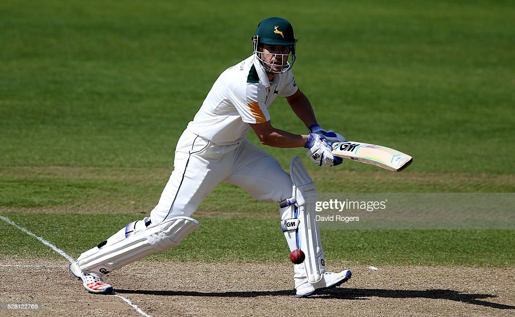 <a gi-track='captionPersonalityLinkClicked' href=/galleries/search?phrase=Chris+Read+-+Cricket+Player&family=editorial&specificpeople=211143 ng-click='$event.stopPropagation()'>Chris Read</a> of Nottinghamshire glances the ball for four runs during the Specsavers County Championship division one match between Nottinghamshire and Yorkshire at Trent Bridge on May 4, 2016 in Nottingham, England.