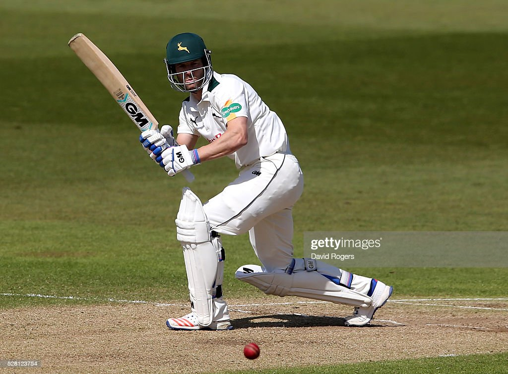 <a gi-track='captionPersonalityLinkClicked' href=/galleries/search?phrase=Chris+Read+-+Cricket+Player&family=editorial&specificpeople=211143 ng-click='$event.stopPropagation()'>Chris Read</a> of Nottinghamshire hits four runs during the Specsavers County Championship division one match between Nottinghamshire and Yorkshire at Trent Bridge on May 4, 2016 in Nottingham, England.