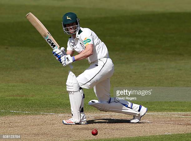 Chris Read of Nottinghamshire hits four runs during the Specsavers County Championship division one match between Nottinghamshire and Yorkshire at...