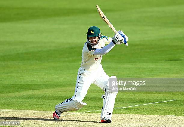 Chris Read of Nottinghamshire hits out during day one of the LV County Championship Division One match between Middlesex and Nottinghamshire at...