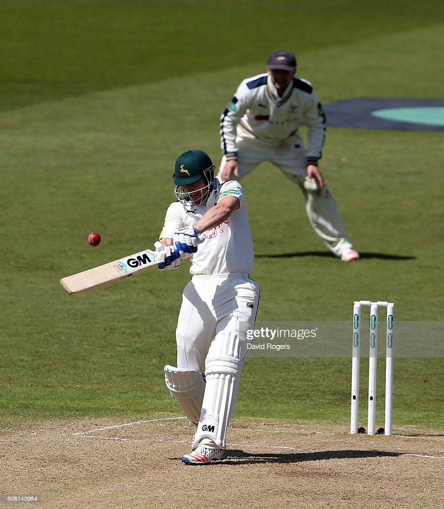 <a gi-track='captionPersonalityLinkClicked' href=/galleries/search?phrase=Chris+Read+-+Cricketspeler&family=editorial&specificpeople=211143 ng-click='$event.stopPropagation()'>Chris Read</a> of Nottinghamshire hits the ball for four runs on the way to his century during the Specsavers County Championship division one match between Nottinghamshire and Yorkshire at Trent Bridge on May 4, 2016 in Nottingham, England.