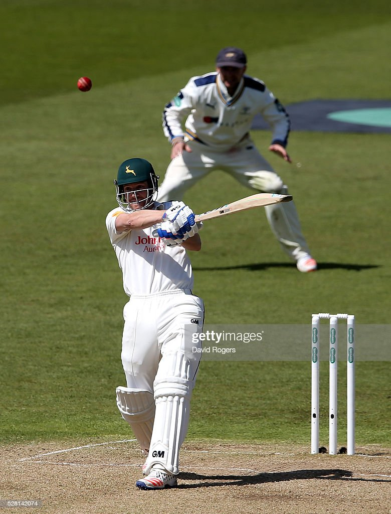 <a gi-track='captionPersonalityLinkClicked' href=/galleries/search?phrase=Chris+Read+-+Cricketprofi&family=editorial&specificpeople=211143 ng-click='$event.stopPropagation()'>Chris Read</a> of Nottinghamshire hits the ball for four runs on the way to his century during the Specsavers County Championship division one match between Nottinghamshire and Yorkshire at Trent Bridge on May 4, 2016 in Nottingham, England.