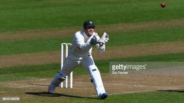 Chris Read of Nottinghamshire in action during a pre season friendly between Glamorgan and Nottinghamshire at SWALEC Stadium on April 3 2017 in...