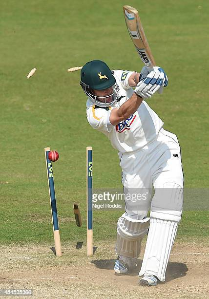 Chris Read of Nottinghamshire is bowled out by John Hastings of Durham during the LV County Championship match between Durham and Nottinghamshire at...