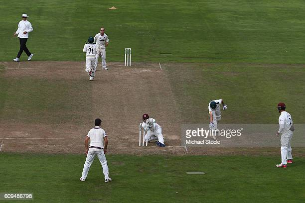Chris Read of Nottinghamshire is run out by wicketkeeper Ryan Davies of Somerset during day two of the Specsavers County Championship Division One...