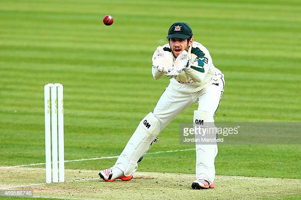 Chris Read of Nottinghamshire makes a catch during day two of the LV County Championship Division One match between Middlesex and Nottinghamshire at...