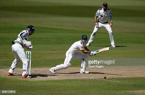 Chris Read of Nottinghamshire scores four runs during the Specsavers County Championship division one match between Nottinghamshire and Yorkshire at...