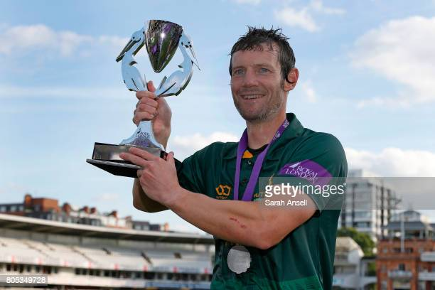 Chris Read of Nottinghamshire with the Royal London OneDay Cup Trophy at Lord's Cricket Ground on July 1 2017 in London England