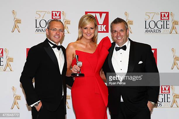 Chris Reason and Melissa Doyle pose in the awards room after winning a Logie for Most Outstanding News Coverage at the 57th Annual Logie Awards at...