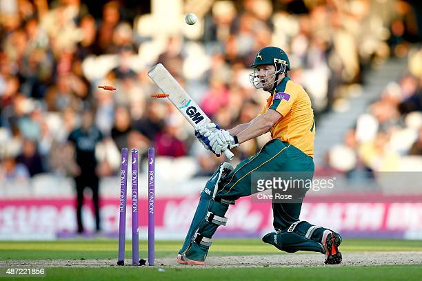Chris Reed of Nottinghamshire plays onto his own stumps off the bowling of Jade Dernbach of Surrey during the Royal London OneDay Cup Semi Final...