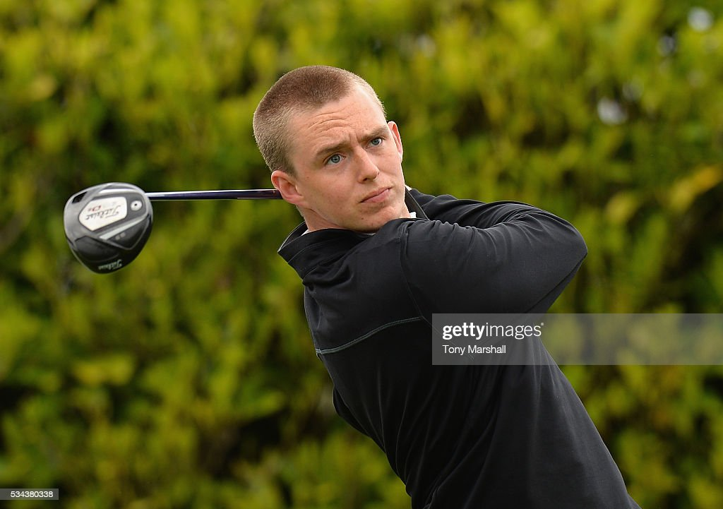 Chris Rippon of Mickleover Golf Club plays his first shot on the 1st tee during the PGA Assistants Championships - Midlands Qualifier at the Coventry Golf Club on May 26, 2016 in Coventry, England.