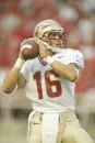 Chris Rix of the Florida State University Seminoles drops back to pass against the University of Maryland Terrapins on September 14 2002 at Byrd...