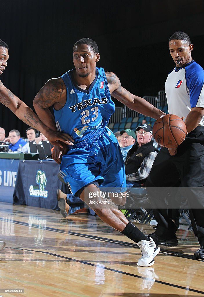 Chris Roberts #23 of the Texas Legends dribbles the ball against the Erie Bayhawks during the 2013 NBA D-League Showcase on January 10, 2013 at the Reno Events Center in Reno, Nevada.