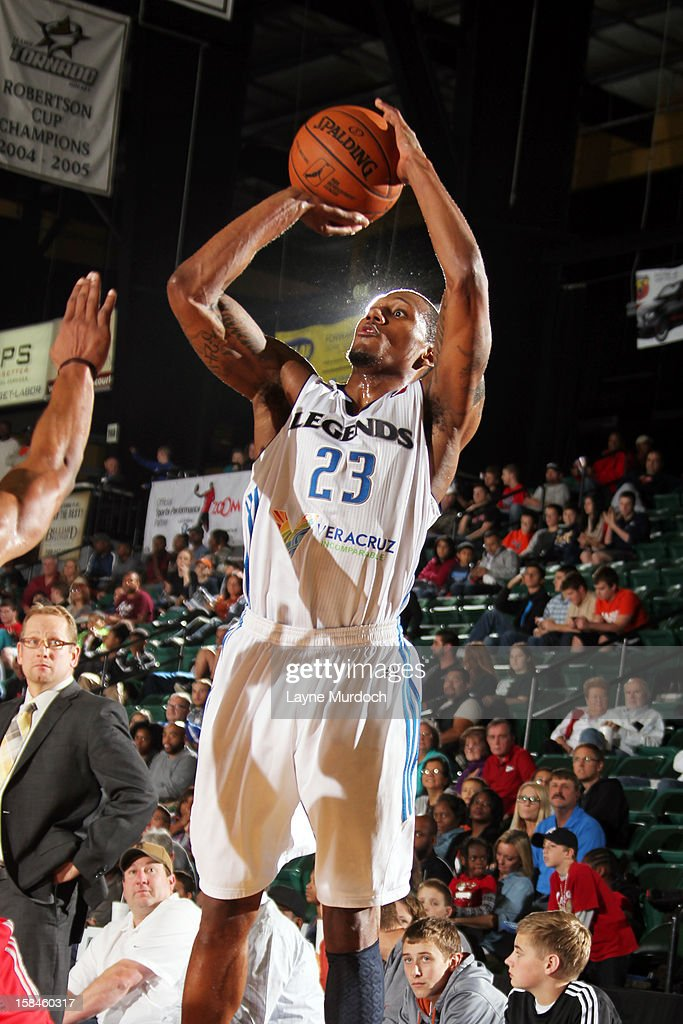 Chris Roberts #23 of the Texas Legends shoots against the Rio Grande Valley Vipers in an NBA D-League game on December 15, 2012 at the Dr. Pepper Center in Frisco, Texas.