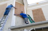 Chris Robertson and John Moore board up a home built in 1895 in preparation of Huricane Ike September 11 2008 in Galveston Texas Ike is expected to...