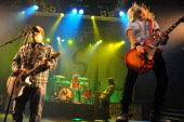 Chris Robertson John Fred Young Jon Lawhon and Ben Wells of Black Stone Cherry perform on stage at KOKO on February 28 2014 in London United Kingdom
