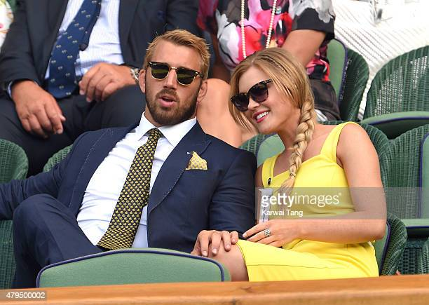 Chris Robshaw and Camilla Kerslake attend day six of the Wimbledon Tennis Championships at Wimbledon on July 4 2015 in London England