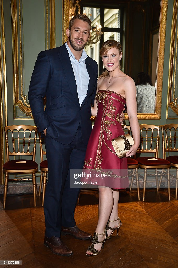 Chris Robshaw and Camilla Kerslake attend the Alberta Ferreti Haute Couture Fall/Winter 20162017 show as part of Paris Fashion Week on July 3 2016 in...