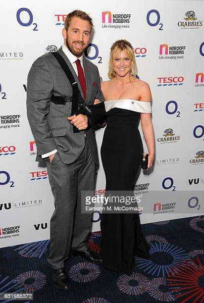 Chris Robshaw and Camilla Kerslake attend The Nordoff Robbins Six Nations Rugby Dinner on January 18 2017 in London United Kingdom