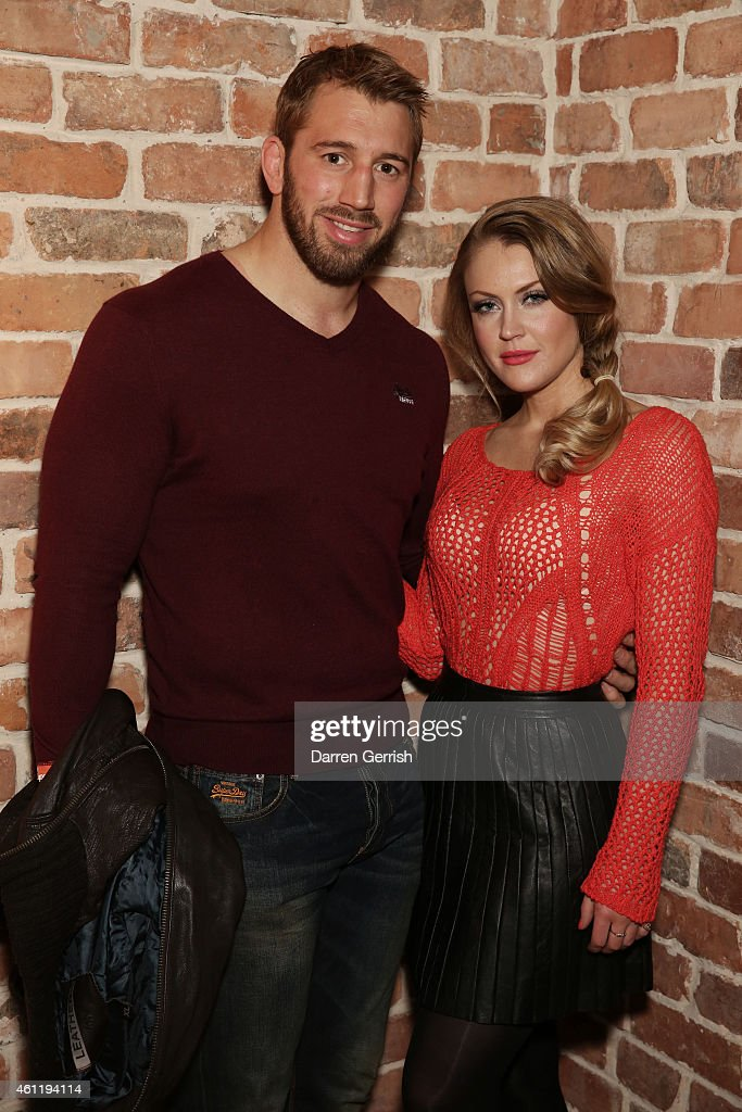 Chris Robshaw and Camilla Kerslake attends the Superdry British Fashion Council official launch event for the London Collections Men AW15 at Superdry...