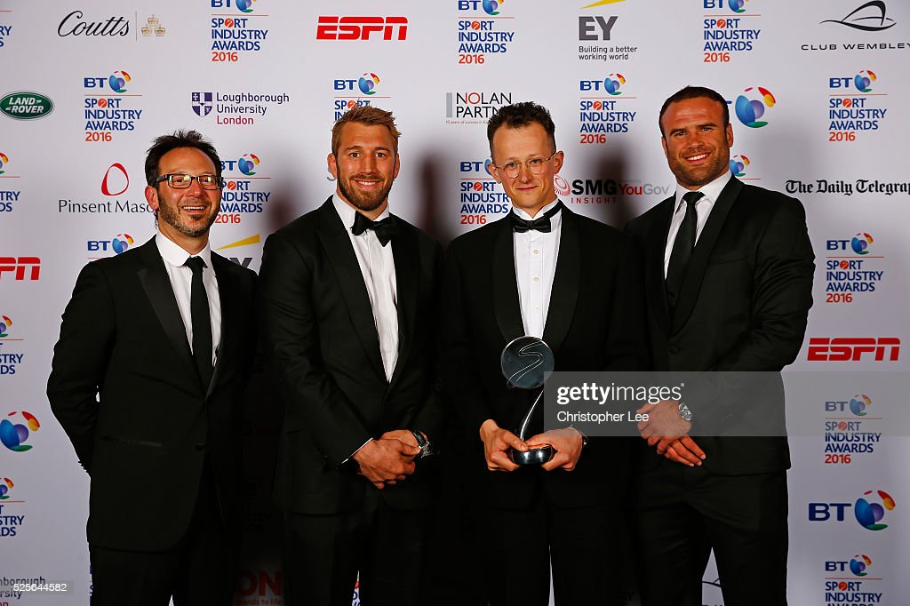 Chris Robshaw and Jamie Roberts present the Community Programme of the Year award in association with the Supporters Club to GoodGym at the BT Sport Industry Awards 2016 at Battersea Evolution on April 28, 2016 in London, England. The BT Sport Industry Awards is the most prestigious commercial sports awards ceremony in Europe, where over 1750 of the industry's key decision-makers mix with high profile sporting celebrities for the most important networking occasion in the sport business calendar.
