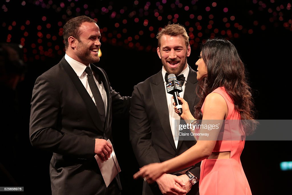 Chris Robshaw and Jamie Roberts talk with Reshmin Chowdhury before presenting the Community Programme of the Year award in association with the Supporters Club to GoodGym at the BT Sport Industry Awards 2016 at Battersea Evolution on April 28, 2016 in London, England. The BT Sport Industry Awards is the most prestigious commercial sports awards ceremony in Europe, where over 1750 of the industry's key decision-makers mix with high profile sporting celebrities for the most important networking occasion in the sport business calendar.